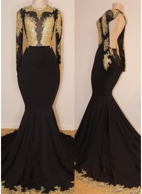 2020 Black Mermaid/Trumpet Gold Applique See Through Scoop Neck Backless Long Sleeve Prom Dresses