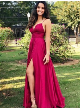 2019 Chic A-Line/Princess Fuchsia Spaghetti Straps Sweetheart Neck Ruching Split-Front Taffeta Prom Dresses