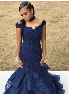 2020 Junoesque Dark-Navy Off-The-Shoulder Mermaid/Trumpet Applique Beaded Tiers Lace Prom Dresses