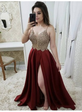 2021 Burgundy Satin Split-Front Gold Applique Beaded Spaghetti Straps Sleeveless Prom Dresses