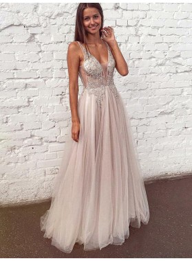 2021 Chic & Modern Ivory A-Line/Princess V Neck Tulle Applique Lace Beaded See Through Prom Dresses