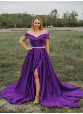 2021 Violet A-Line/Princess Off-The-Shoulder Sweetheart Split-Front Beaded Plus Size Satin Prom Dresses