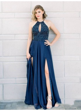2021 Royal-Blue Sheath/Column Halter Sleeveless Double Split-Front Sequins Beaded Chiffon Prom Dresses