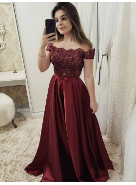 2021 Sexy & Elegant A-Line/Princess Off-The-Shoulder Burgundy Lace Beaded Bowknot Satin Prom Dresses