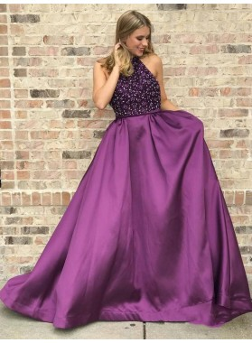 2020 Glamorous Purple A-Line/Princess Halter Beaded Sleeveless Satin Prom Dresses
