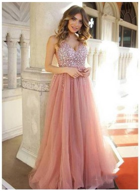 2021 New Arrival Dusty-Rose Tulle V Neck Sleeveless Beaded See Through Prom Dresses