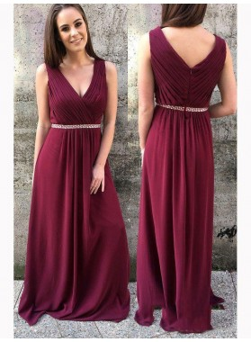 2021 Burgundy Sheath/Column V Neck Sleeveless Pleated Beaded Chiffon Prom Dresses