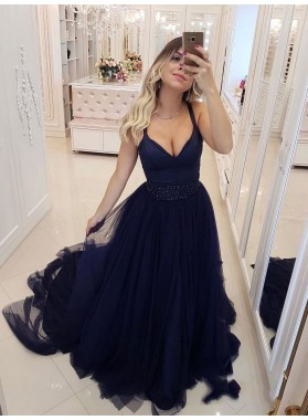 2021 Glamorous Dark-Navy V Neck Regular Straps Tulle Beaded Sleeveless Plus Size Prom Dresses