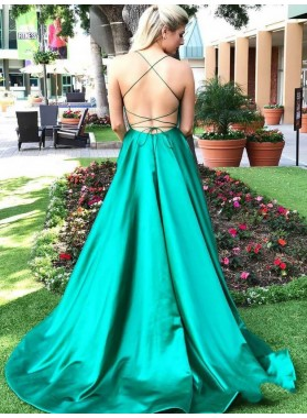 2021 Brilliant Jade A-Line/Princess Backless Sleeveless Criss Cross Satin Prom Dresses