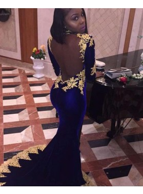 2021 Royal-Blue Velvet Long Sleeve Backless Applique Mermaid/Trumpet Prom Dresses