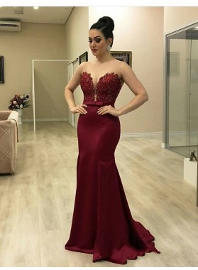 2021 Burgundy Mermaid/Trumpet V Neck Lace Beaded Bowknot Satin Prom Dresses