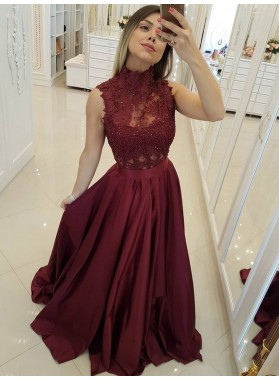 2021 Burgundy A-Line/Princess High Neck Sleeveless Lace Beaded Satin Prom Dresses