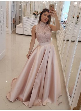 2021 Glamorous Dusty-Rose A-Line/Princess High Neck Sleeveless Lace Beaded Sleeveless Satin Prom Dresses