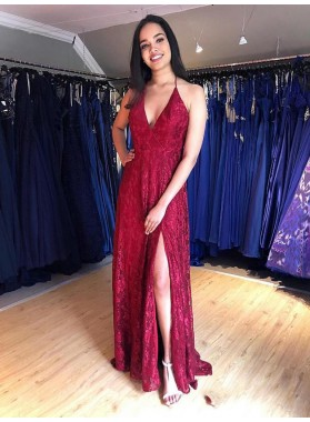 2021 Glamorous Red Sheath/Column Lace Halter V Neck Sleeveless Backless Split-Front Prom Dresses
