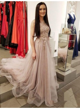 2021 Brilliant A-Line/Princess Dusty-Rose Tulle Applique Beaded Sleeveless Prom Dresses