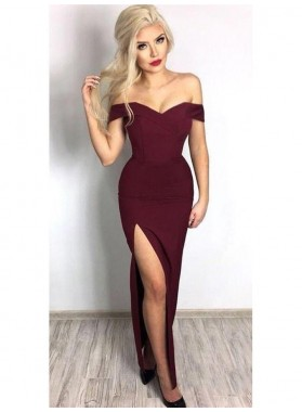 2021 Intellective Burgundy Sheath/Column Off-The-Shoulder Sweetheart Split-Front Prom Dresses