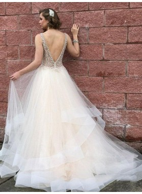 2021 Luxury White A-Line/Princess V Neck Lace Beading Backless Sleeveless Organza Tiers Prom Dresses