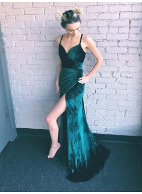2021 Dark-Green Velvet Sheath/Column Split-Front Spaghetti Straps V Neck Sleeveless Criss Cross Prom Dresses