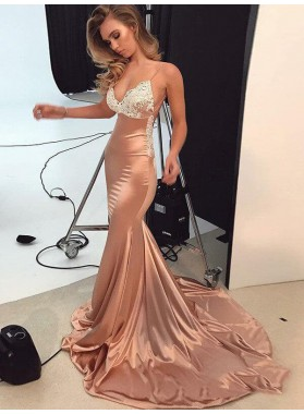 2021 Billiant Dusty-Rose Mermaid/Trumpet Satin Applique Criss Cross Court Train  Prom Dresses