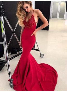 2021 Chic Red Satin Mermaid/Trumpet V Neck Sleeveless Criss Cross Applique Prom Dresses With Train