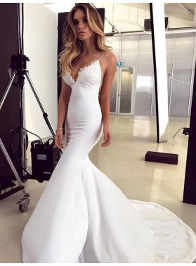 2021 White Satin Applique Mermaid/Trumpet V Neck Sleeveless Criss Cross Prom Dresses