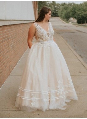 2021 Glamorous Ivory Ball Gown V Neck Sleeveless Lace Applique Tulle Plus Size Prom Dresses