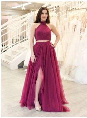 2021 Brilliant Burgundy Two Pieces Halter Sleeveless Beaded Split-Front Tulle Prom Dresses