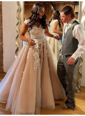 2021 Charming Dusty-Rose A-Line/Princess V Neck Applique Beaded Tulle Prom Dresses