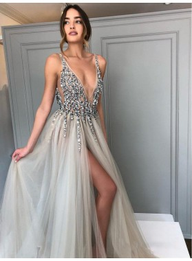 2021 Luxury Light-Slate-Gray A-Line/Princess Crystal Beaded Tulle V Neck Split-Front Prom Dresses