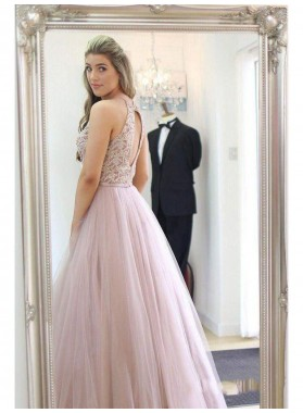 2021 Sweet Dusty-Rose A-Line/Princess Sleeveless Applique Beading Tulle Prom Dresses