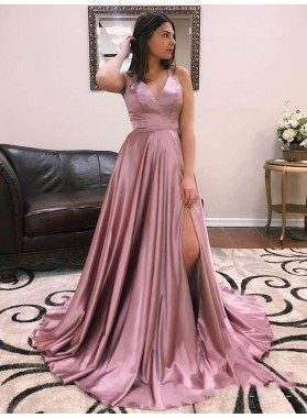 2021 Gorgeous A-Line/Princess V Neck Sleeveless Split-Front Criss Cross Satin Prom Dresses