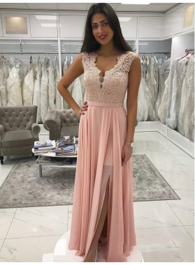 2021 Charming Pink A-Line/Princess V Neck Sleeveless Lace Beaded Chiffon Prom Dresses