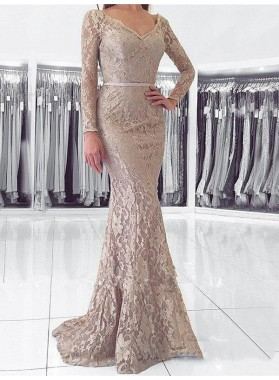 2021 Elegant Champagne Lace V Neck Long Sleeve Backless Botton Mermaid/Trumpet Prom Dresses