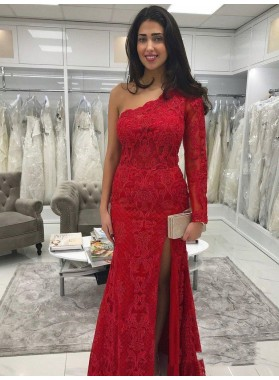 2021 Charming Red Lace Sheath/Column One Shoulder Split-Front Prom Dresses