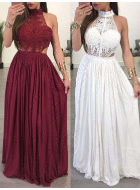 2021 Burgundy White Lace High Neck Sleeveless Sheath/Column Chiffon Prom Dresses