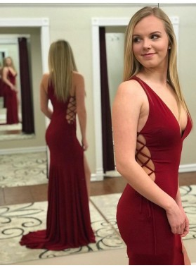 2021 Glamorous Sheath/Column Elastic Satin Burgundy V Neck Sleeve Criss Cross Split-Front Prom Dresses