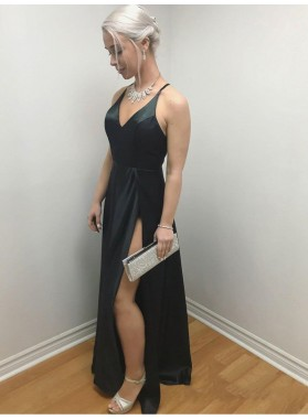2021 Sexy Black V Neck Sleeveless Criss Cross Split-Front Satin Floor Length Prom Dresses