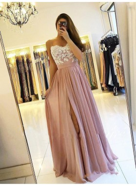2021 Brilliant Dusty-Rose Lace Sweetheart Sleeveless Applique Split-Front Chiffon Botton Prom Dresses