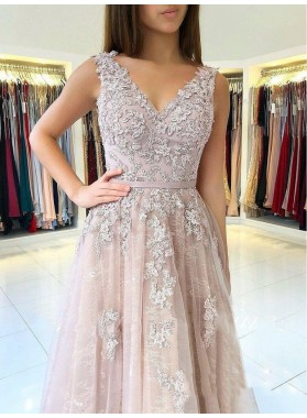 2021 Elegant Dusty-Rose A-Line/Princess V Neck Sleeveless Applique Tulle Prom Dresses