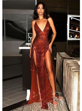 2021 Glamorous Burgundy Sequins Sheath/Column V Neck Backless Sleeveless Double Split-Front Prom Dresses