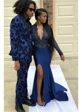 2021 Navy Blue Long Sleeve V Neck Applique Split Front Mermaid/Trumpet Prom Dresses