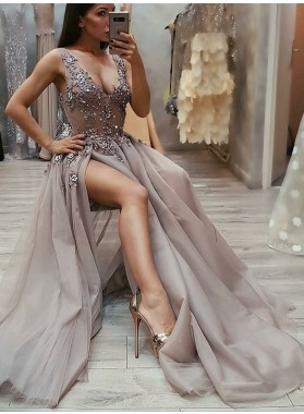 2021 A-Line/Princess V Neck Sleeveless Split Front Lace Beaded Applique Tulle Prom Dresses
