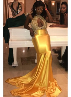 2021 Halter High Neck Sleeveless Cut Out Applique Beaded Mermaid/Trumpet Satin Prom Dresses