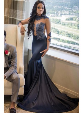 2021 Navy Blue High Neck Long Sleeve Applique Beaded See Through Satin Mermaid/Trumpet Prom Dresses