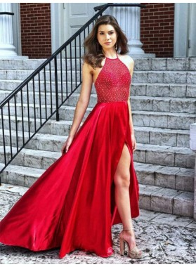 2021 Gorgeous Halter Sleeveless Backless Beaded High Low Split-Front Prom Dresses