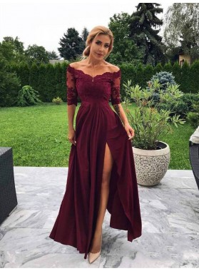 2021 Elegant Sheath/Column Off-The-Shoulder Half Sleeve Split-Front Lace Prom Dresses