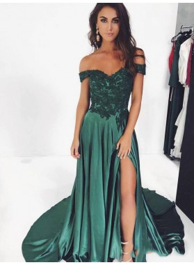 2021 Charming Sheath/Column Off-The-Shoulder Split-Front Applique Satin Prom Dresses