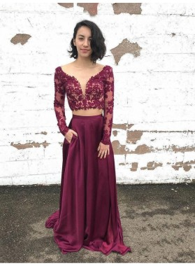 2021 New Arrival Two Piece Lace Long Sleeve V Neck Satin Prom Dresses