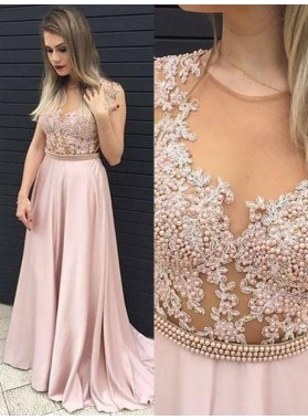 2021 A-Line/Princess Sleeveless Applique Beaded See Through Satin Prom Dresses