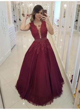 2021 Charming A-Line/Princess V Neck Sleeveless Applique Beaded Tulle Prom Dresses